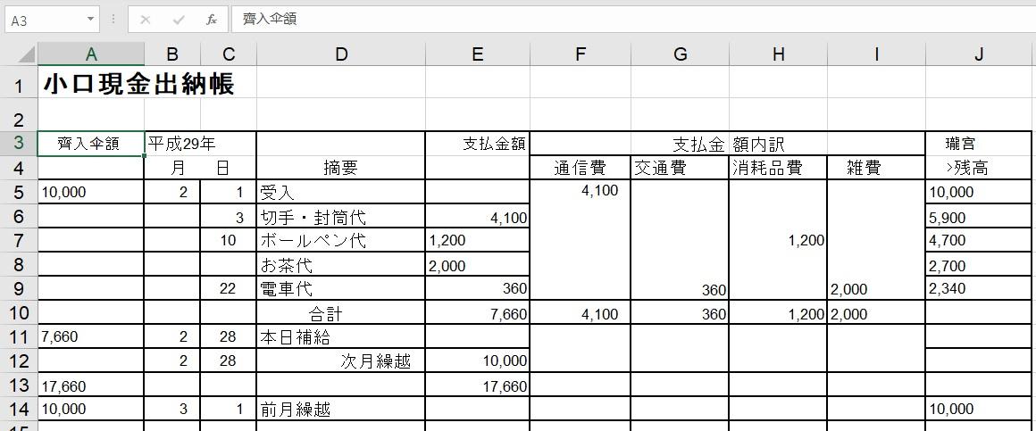 改善前の表の認識結果 (Excel)